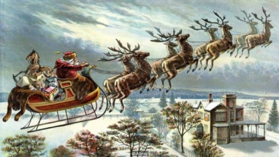 Santa Claus in sled, drawn by reindeer