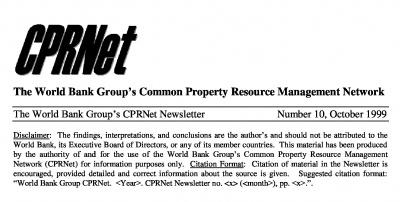 World Bank Group's CPRNet, Newsletter header