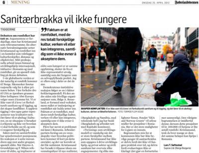 Roma i Kristiansand (Fædrelandsvennen, 25. april 2012)